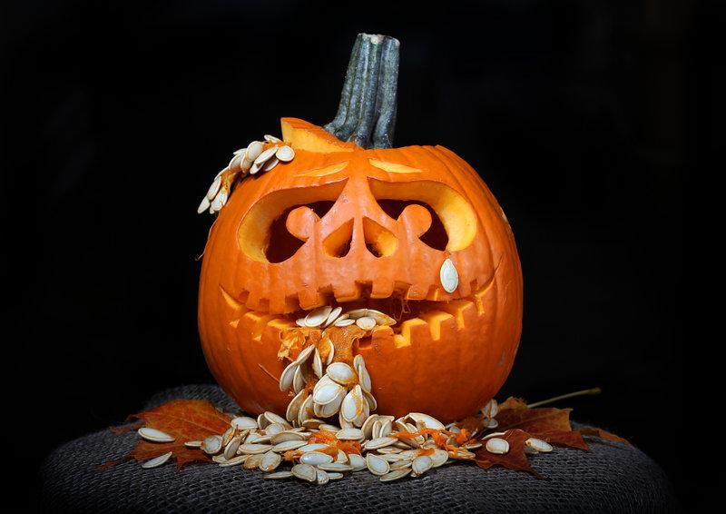 Terrorífica calabaza de Halloween