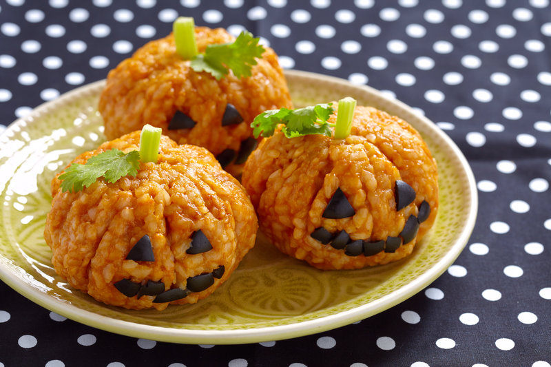 Mini-calabazas de arroz con tomate de Halloween