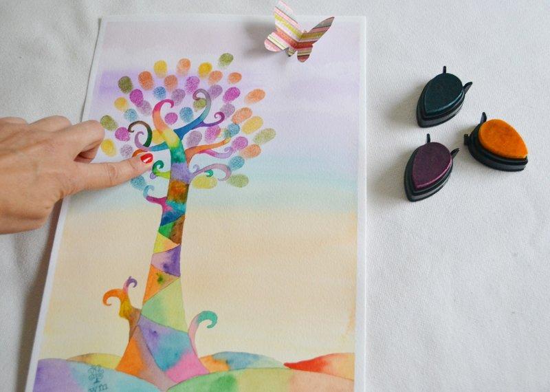 Árbol con huellas de Watermarycolors
