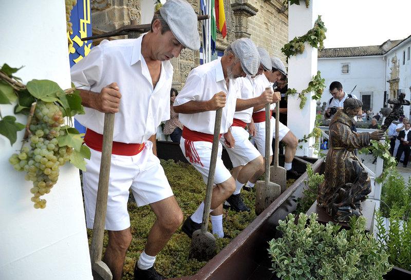 Pisá de la uva en las Fiestas de la Vendimia de Jerez